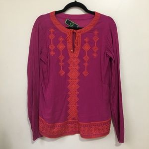 C WONDER embroidered tie neck long sleeve top AG6